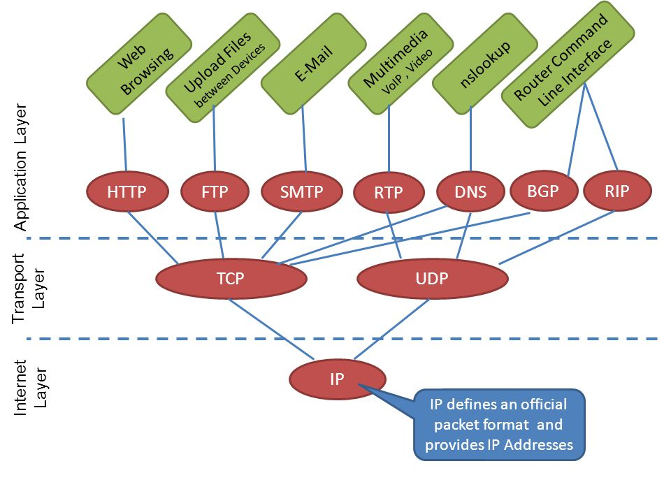 HTTP FTP SMTP RTP DNS BGP RIP TCP UDP IP Web Browsing