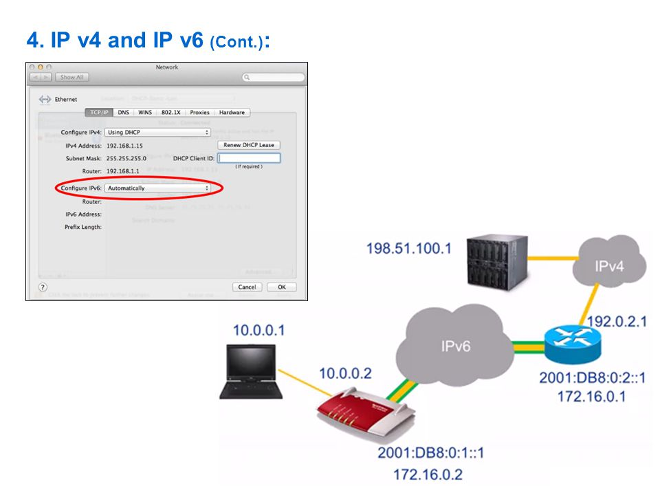 4. IP v4 and IP v6 (Cont.):