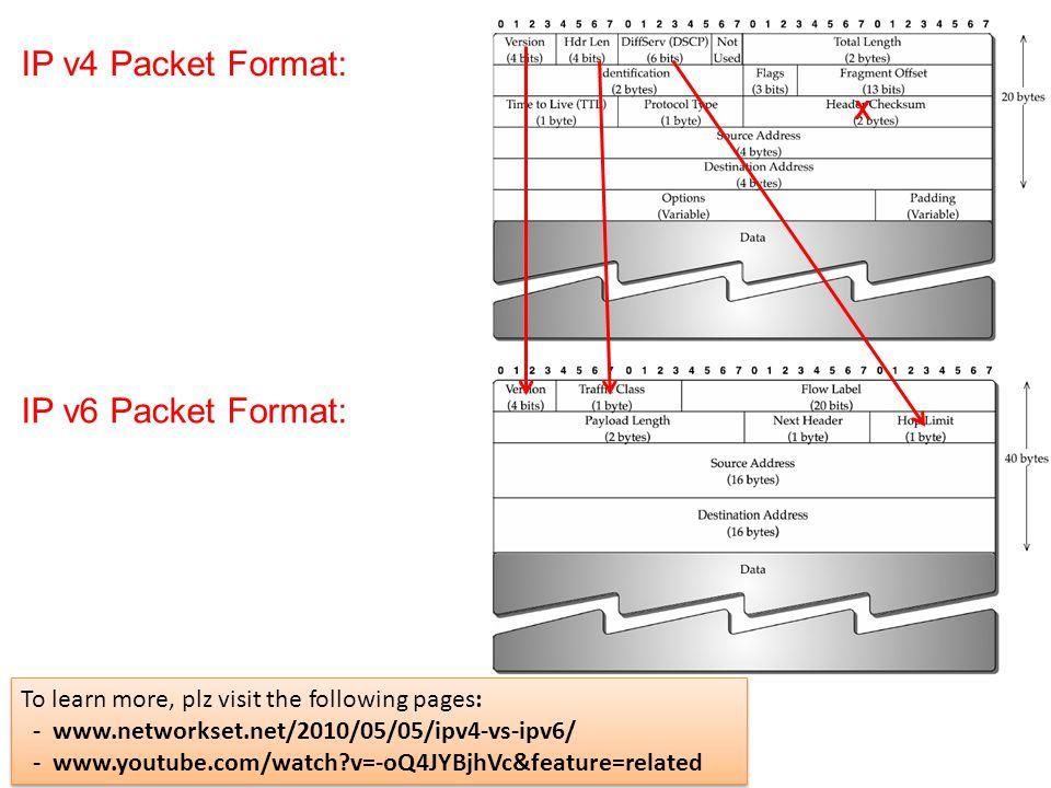 IP v4 Packet Format: IP v6 Packet Format: X