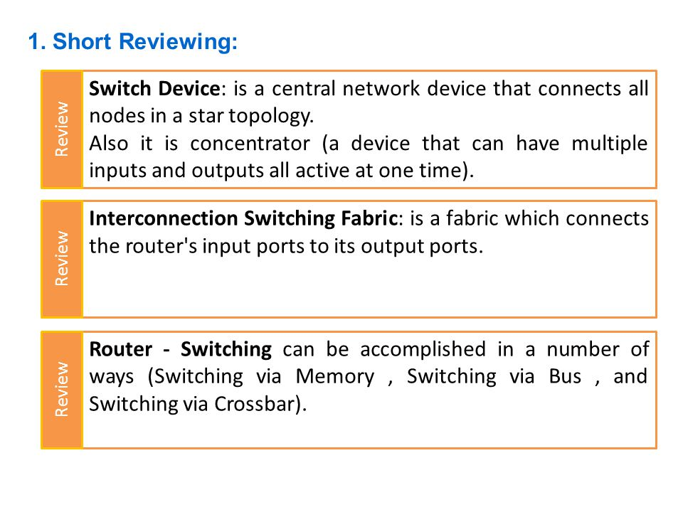 1. Short Reviewing: Switch Device: is a central network device that connects all nodes in a star topology.