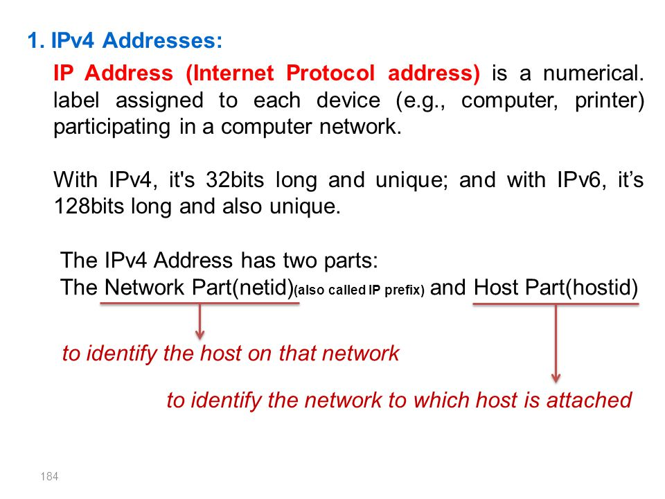 1. IPv4 Addresses: