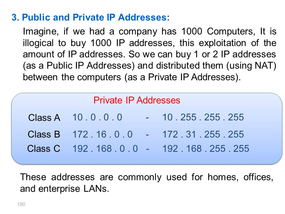 3. Public and Private IP Addresses: