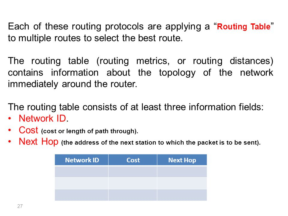 The routing table consists of at least three information fields:
