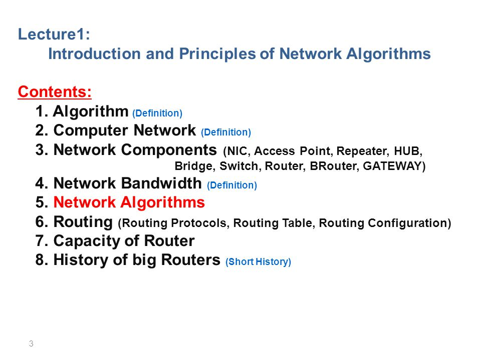 Introduction and Principles of Network Algorithms
