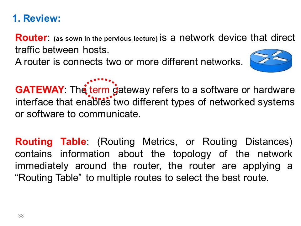 1. Review: Router: (as sown in the pervious lecture) is a network device that direct traffic between hosts.