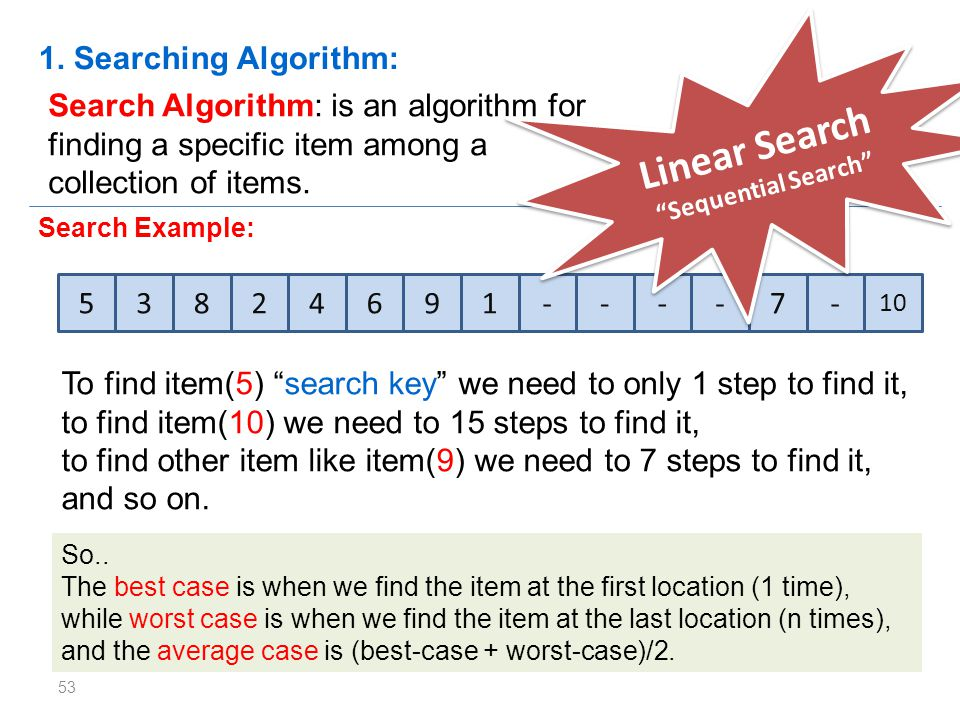Linear Search 1. Searching Algorithm:
