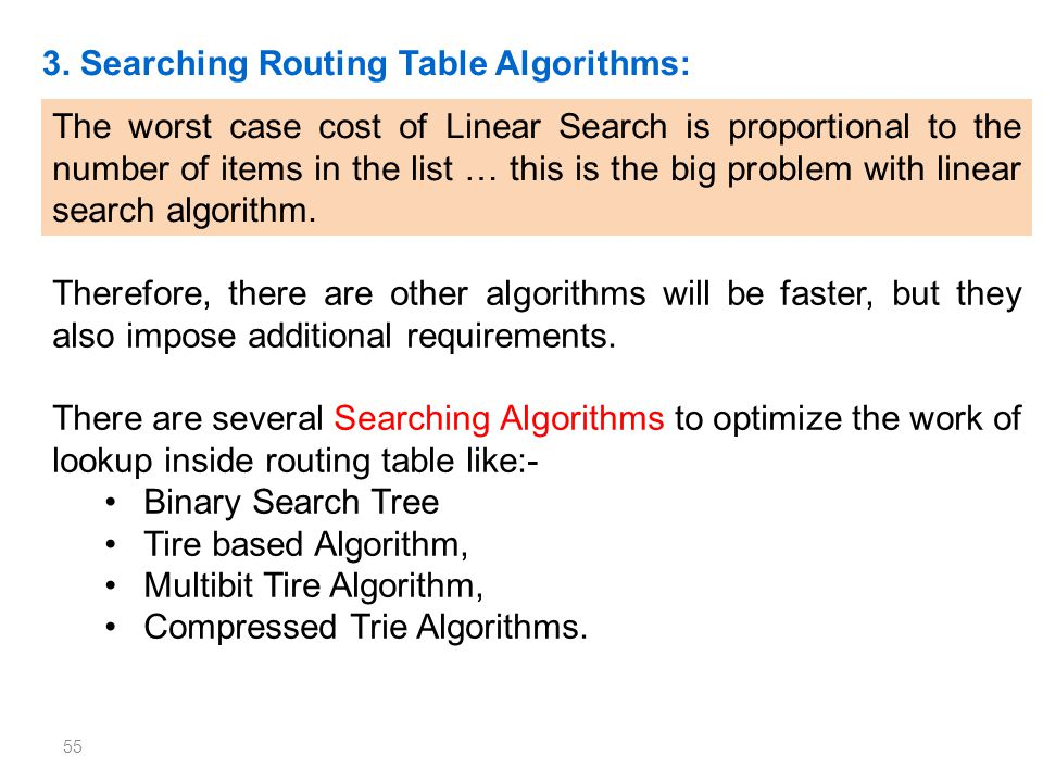 3. Searching Routing Table Algorithms: