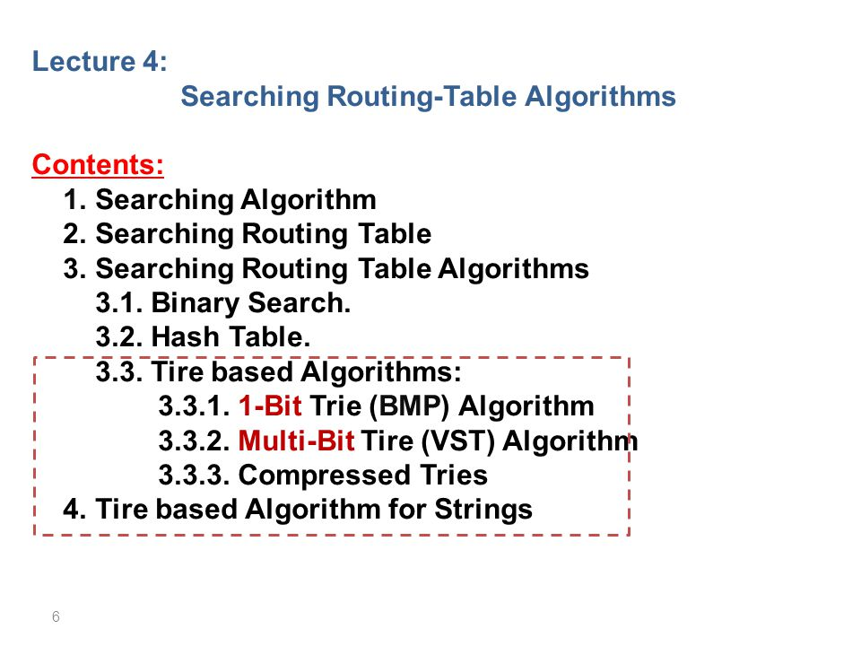 Searching Routing-Table Algorithms
