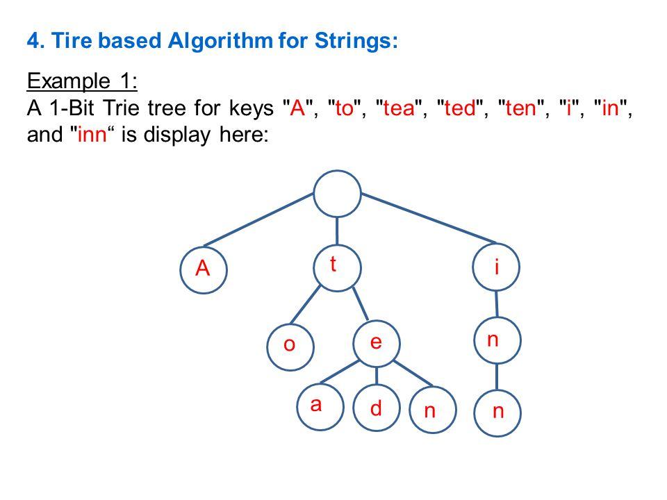 4. Tire based Algorithm for Strings: