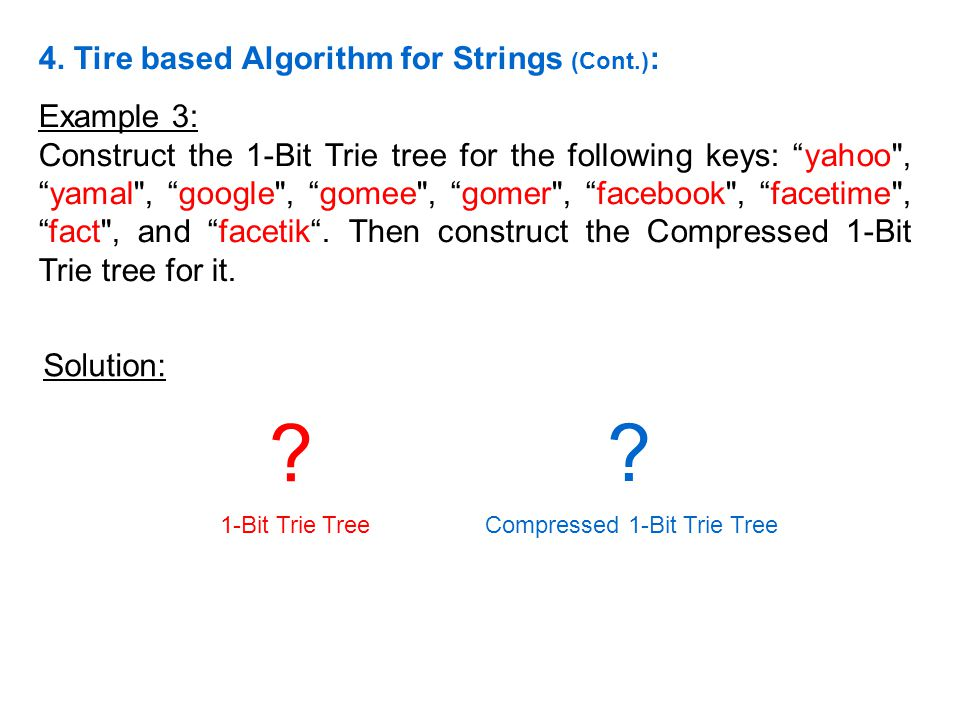 Compressed 1-Bit Trie Tree
