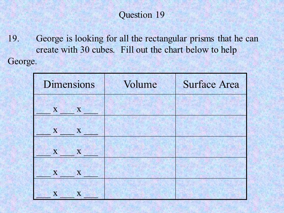 Dimensions Volume Surface Area Question 19