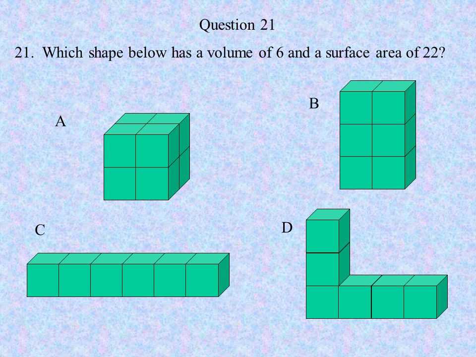Question 21 21. Which shape below has a volume of 6 and a surface area of 22 B A C D
