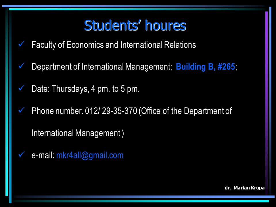 Students' houres Faculty of Economics and International Relations