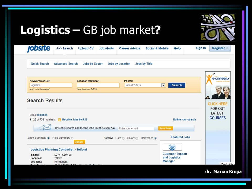 Logistics – GB job market