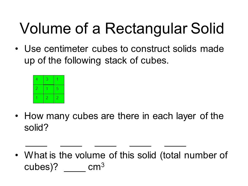 Volume of a Rectangular Solid