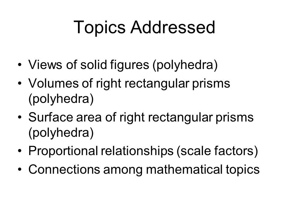 Topics Addressed Views of solid figures (polyhedra)
