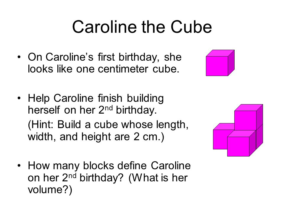 Caroline the Cube On Caroline's first birthday, she looks like one centimeter cube. Help Caroline finish building herself on her 2nd birthday.