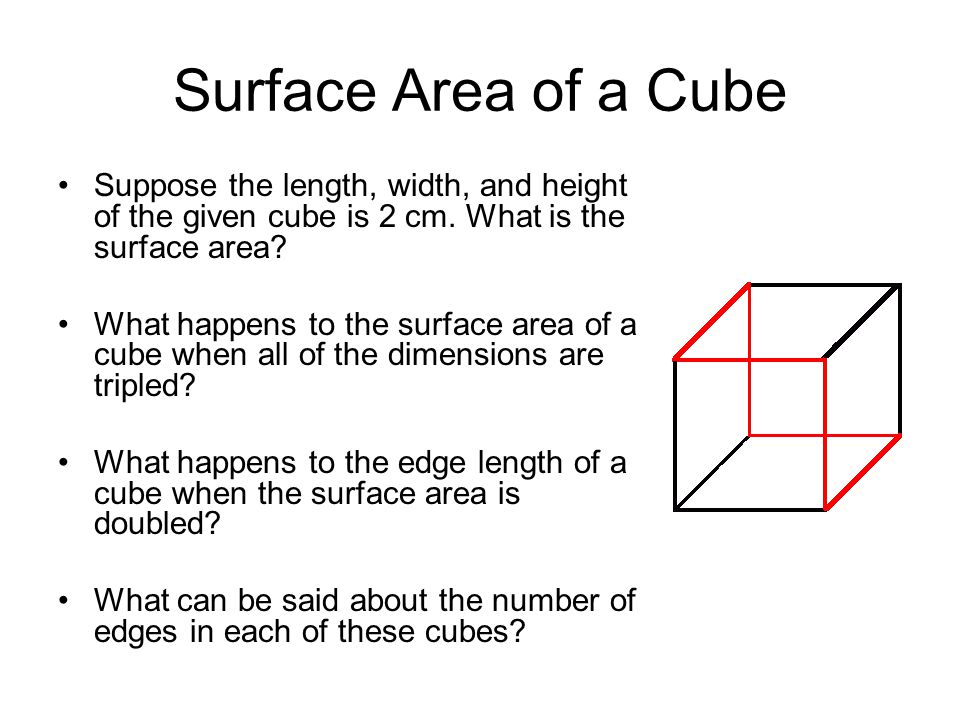 Surface Area of a Cube Suppose the length, width, and height of the given cube is 2 cm. What is the surface area