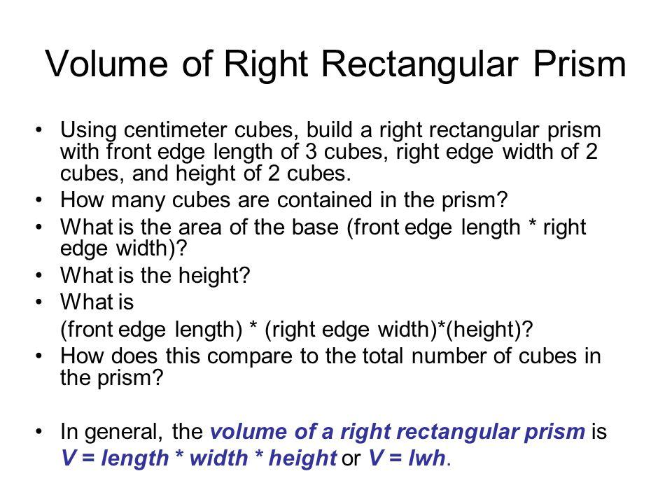 Volume of Right Rectangular Prism
