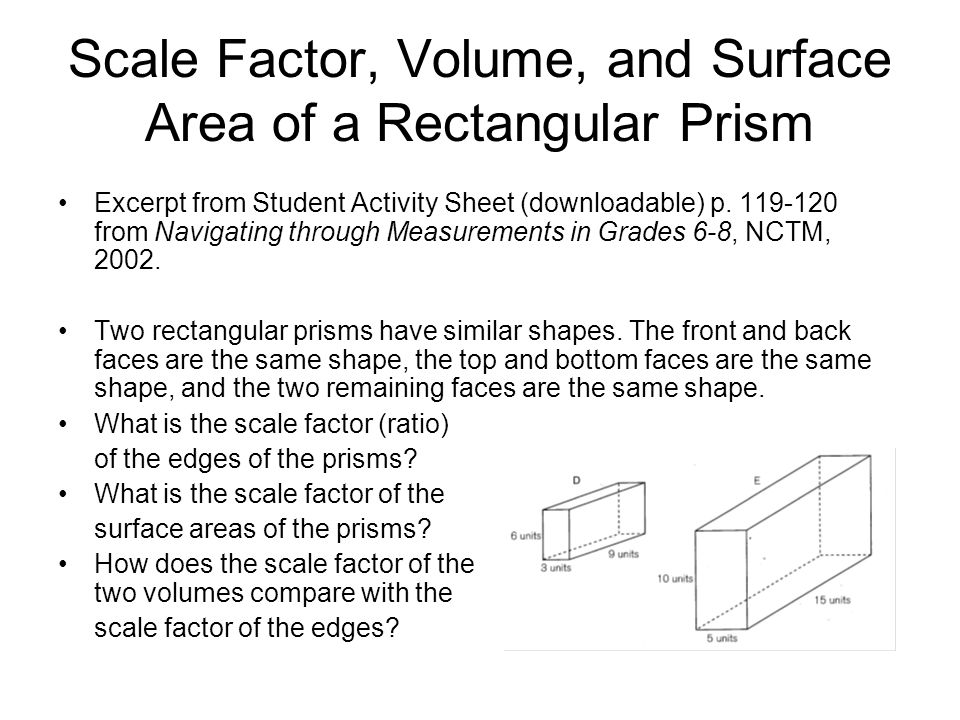 Scale Factor, Volume, and Surface Area of a Rectangular Prism