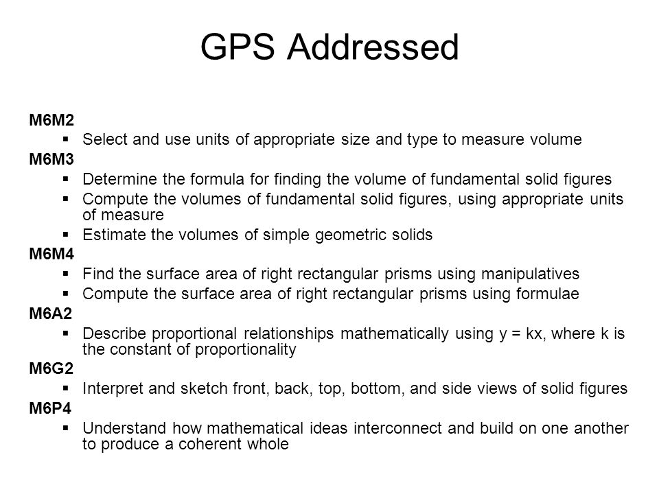 GPS Addressed M6M2. Select and use units of appropriate size and type to measure volume. M6M3.