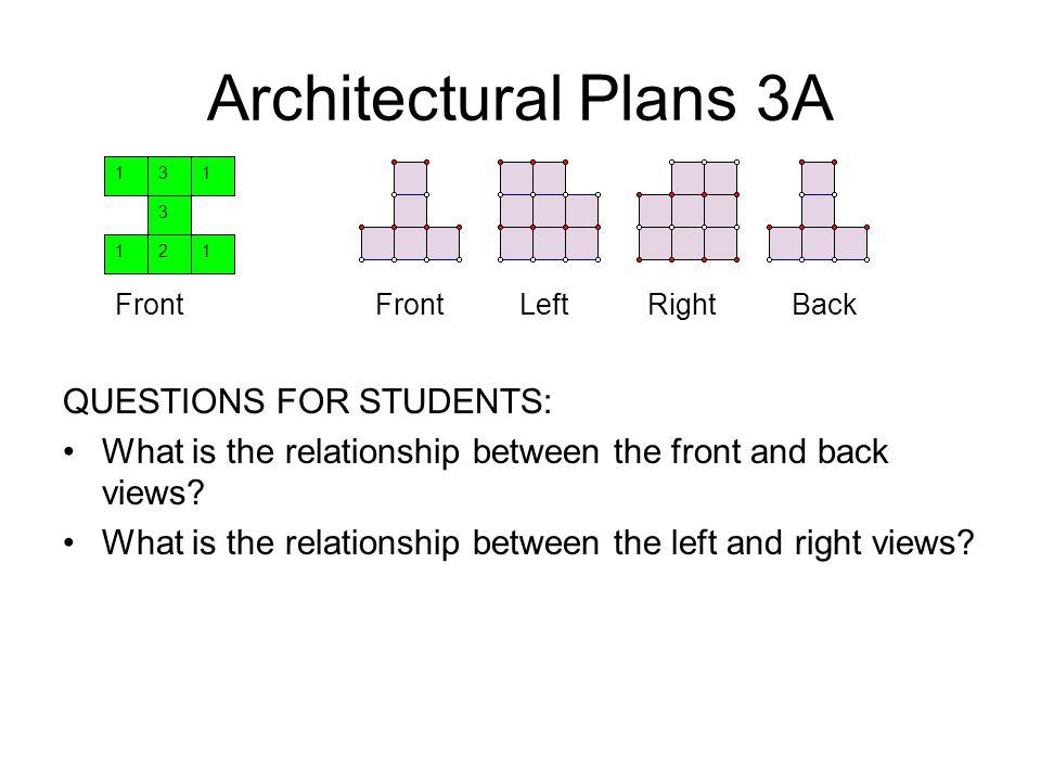 Architectural Plans 3A QUESTIONS FOR STUDENTS: