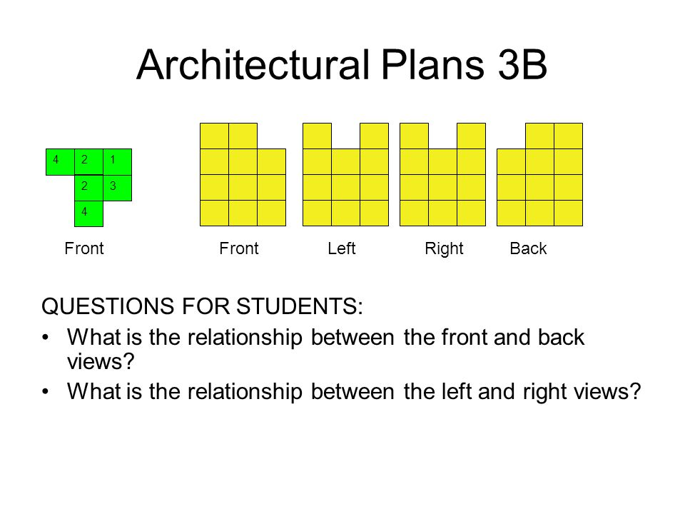 Architectural Plans 3B QUESTIONS FOR STUDENTS: