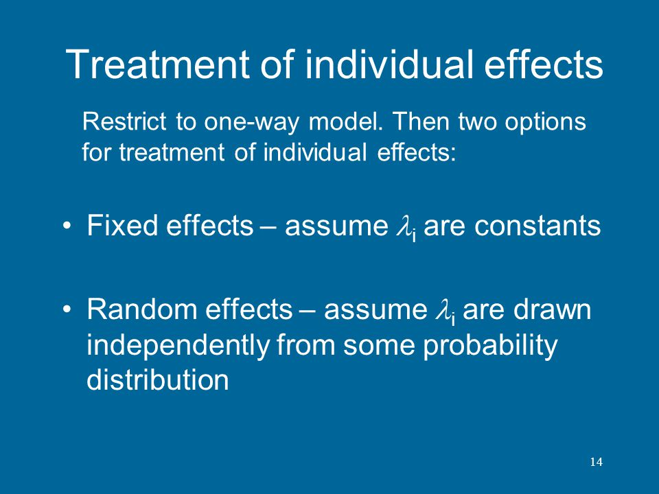 Treatment of individual effects