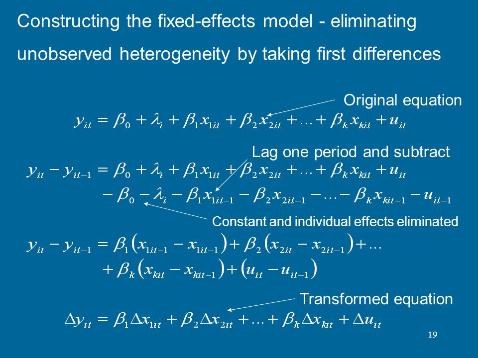 Constructing the fixed-effects model - eliminating unobserved heterogeneity by taking first differences