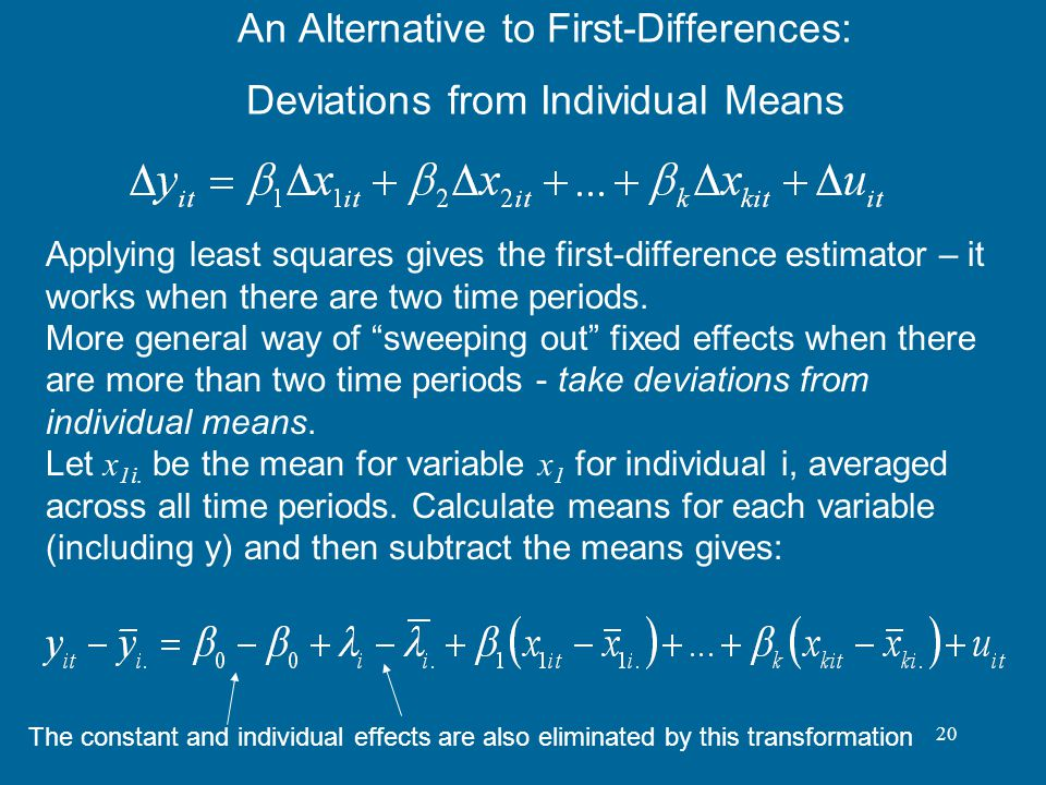 An Alternative to First-Differences: Deviations from Individual Means