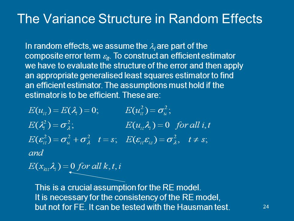 The Variance Structure in Random Effects