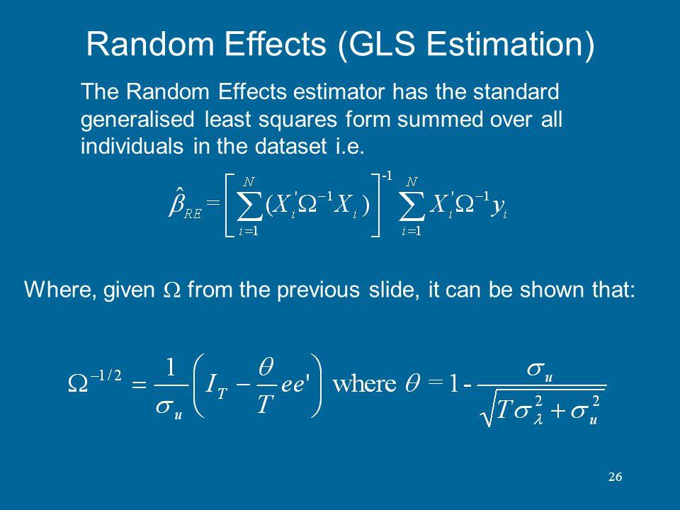 Random Effects (GLS Estimation)