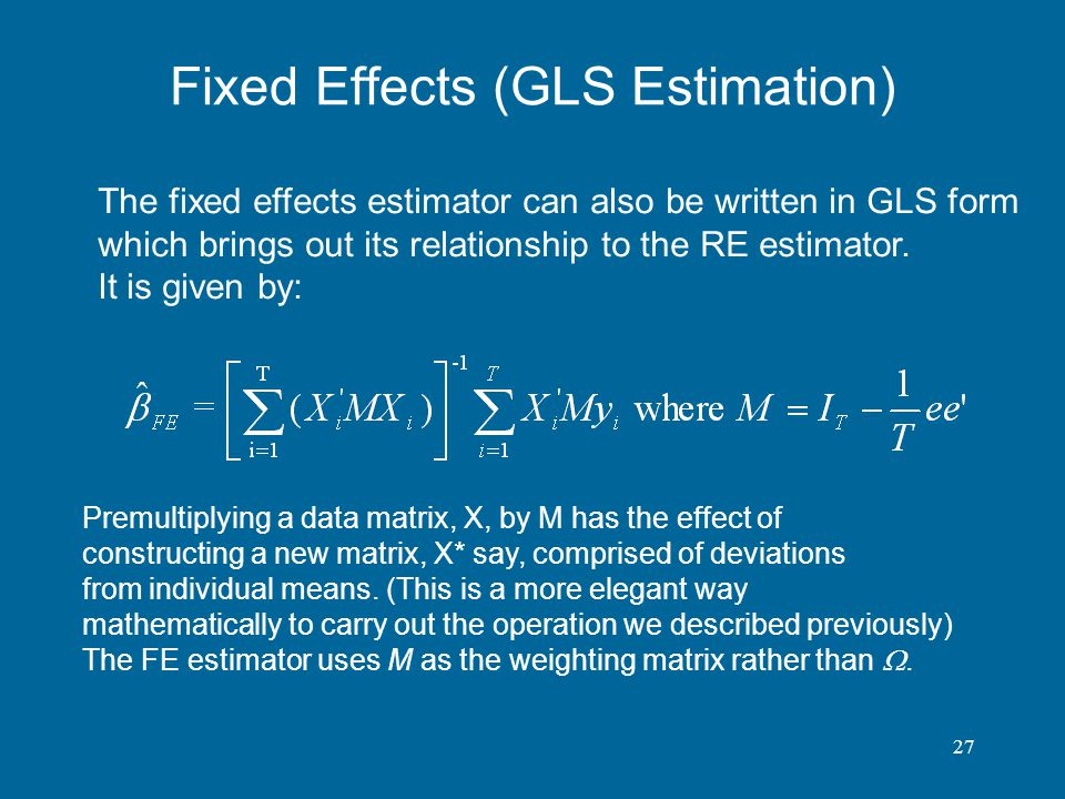 Fixed Effects (GLS Estimation)