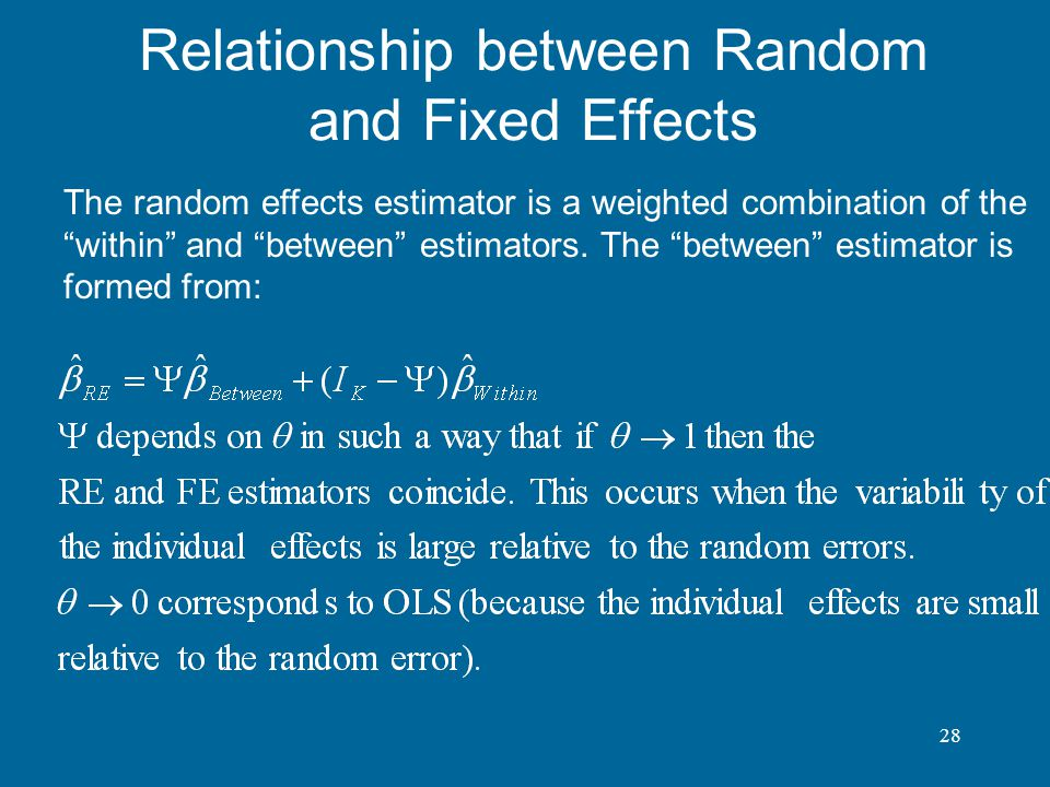 Relationship between Random and Fixed Effects