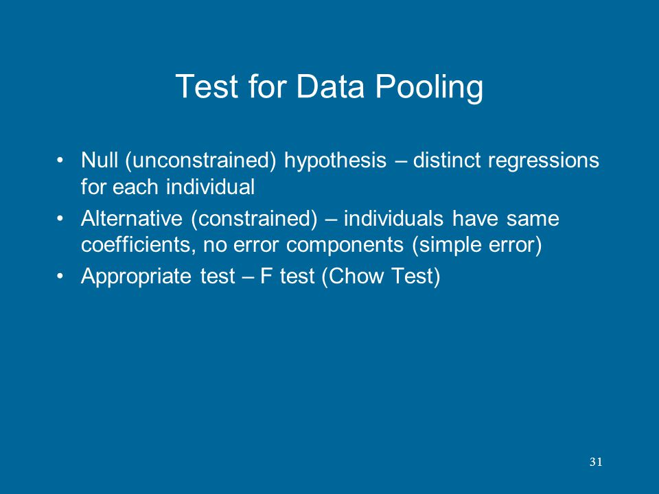 Test for Data Pooling Null (unconstrained) hypothesis – distinct regressions for each individual.