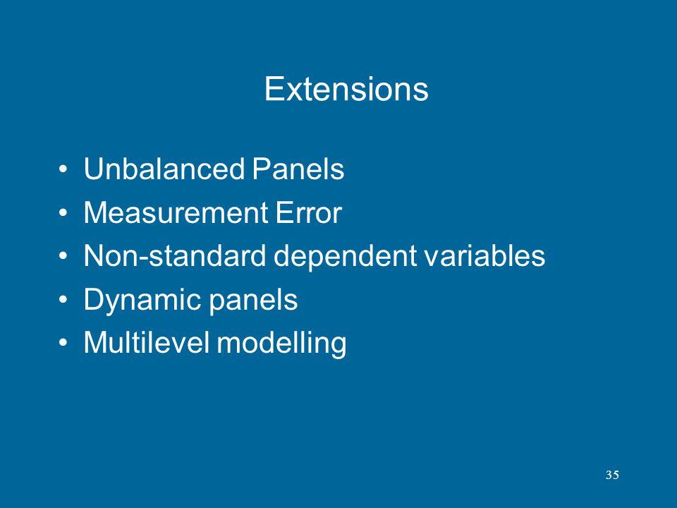 Extensions Unbalanced Panels Measurement Error