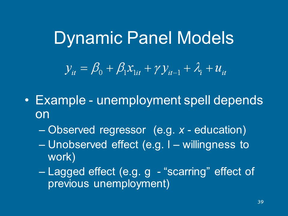 Dynamic Panel Models Example - unemployment spell depends on