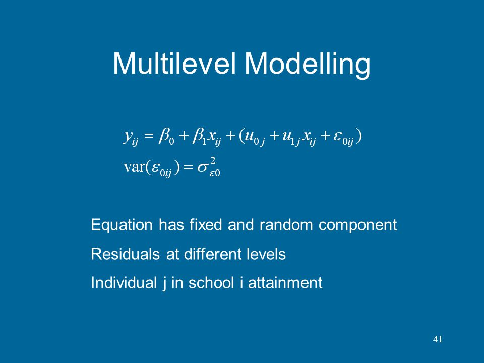 Multilevel Modelling Equation has fixed and random component