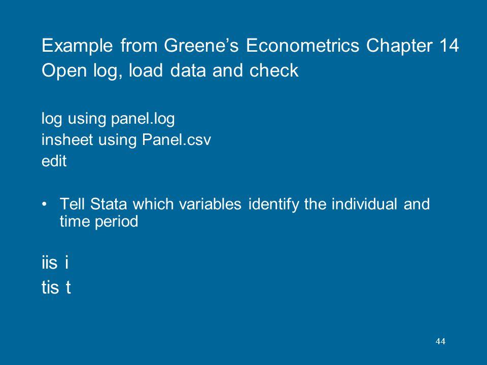 Example from Greene's Econometrics Chapter 14