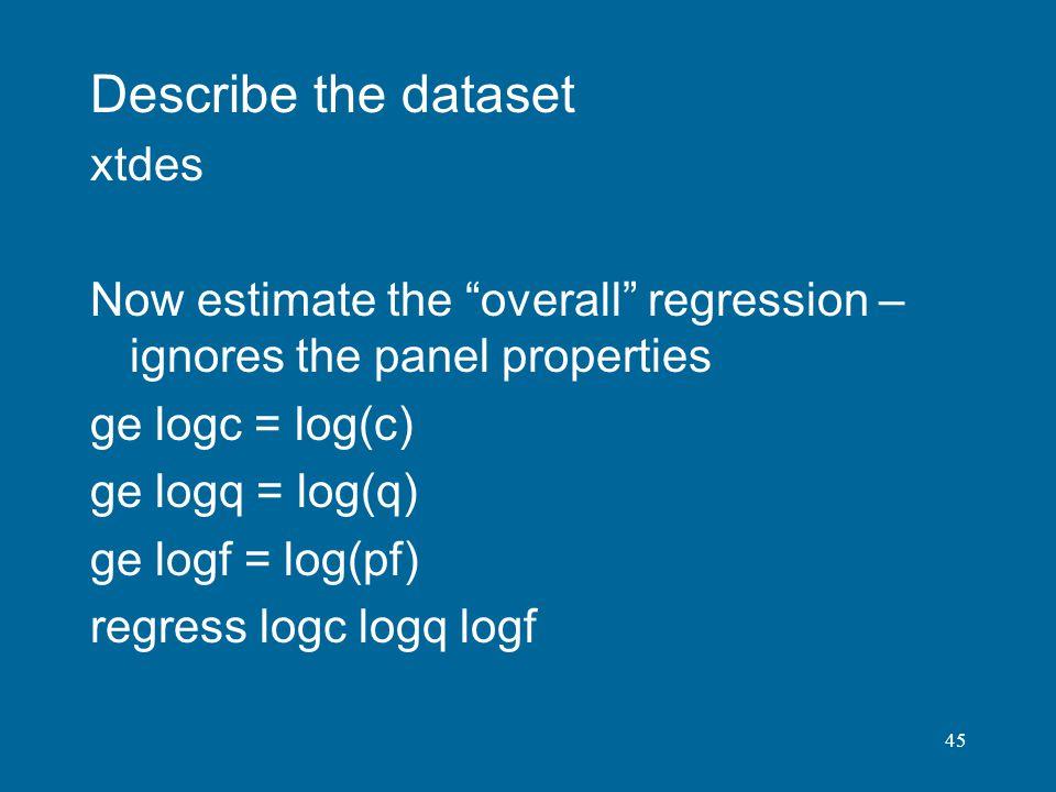 Describe the dataset xtdes