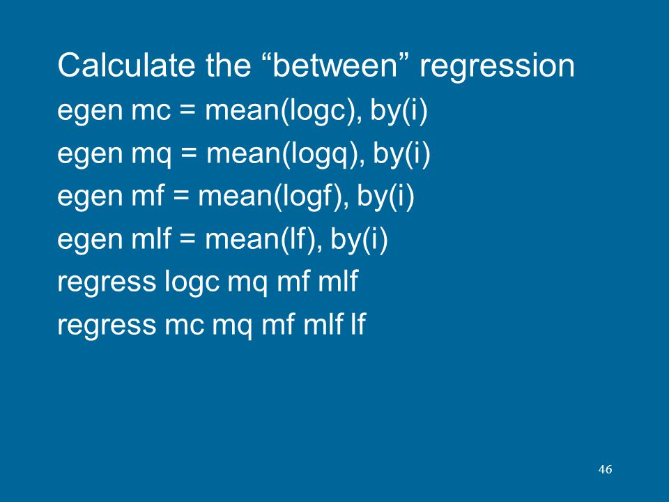 Calculate the between regression