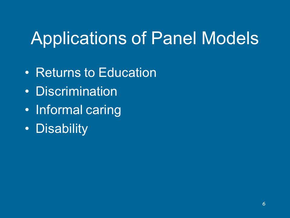 Applications of Panel Models
