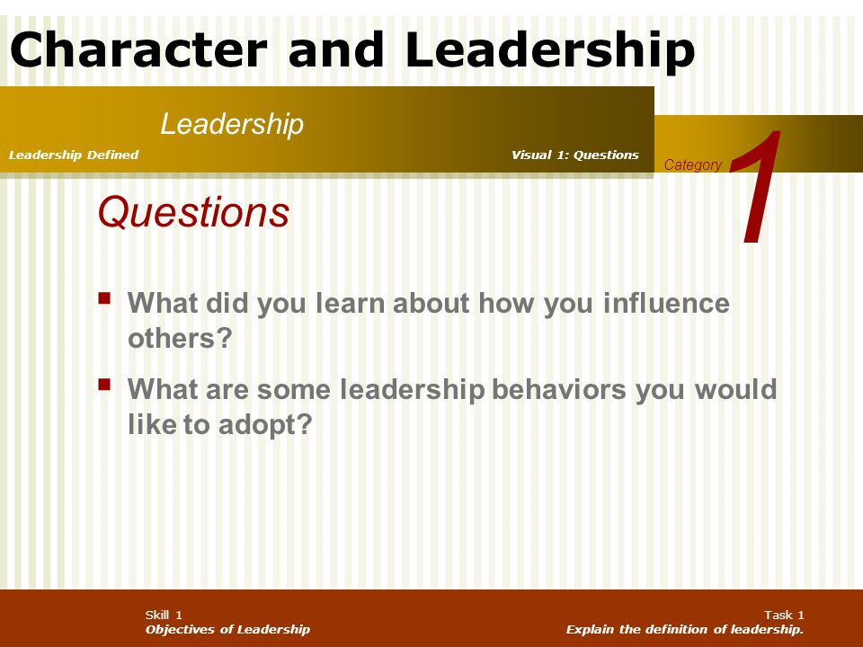 1 Leadership. Leadership Defined. Visual 1: Questions. Category. Questions. What did you learn about how you influence others