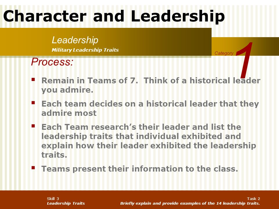 1 Leadership. Military Leadership Traits. Category. Process: Remain in Teams of 7. Think of a historical leader you admire.