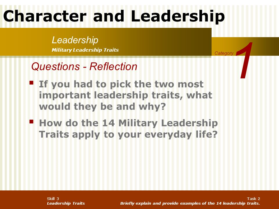 1 Questions - Reflection Leadership