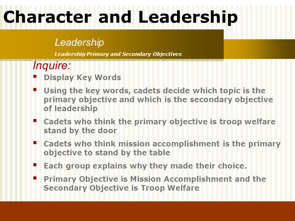 Inquire: Leadership Display Key Words