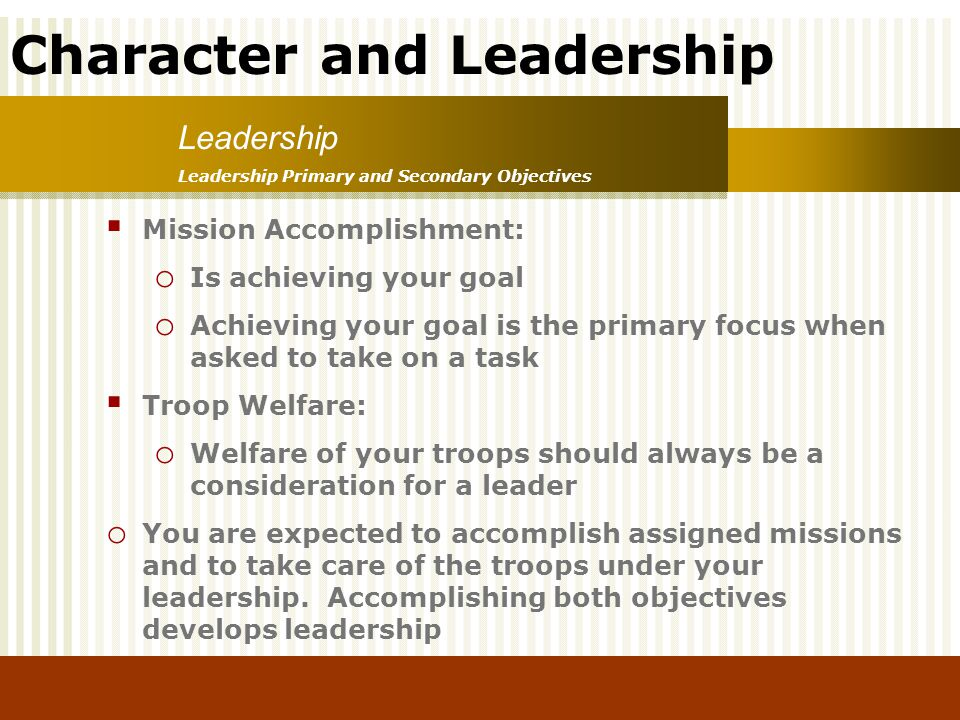 Leadership Mission Accomplishment: Is achieving your goal