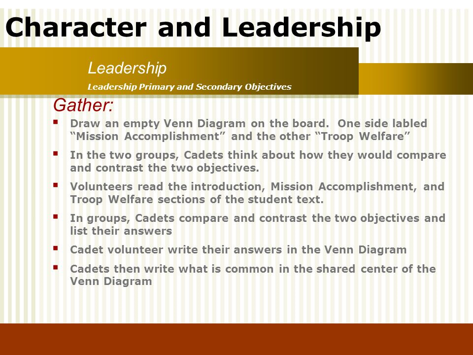 Leadership Leadership Primary and Secondary Objectives. Gather:
