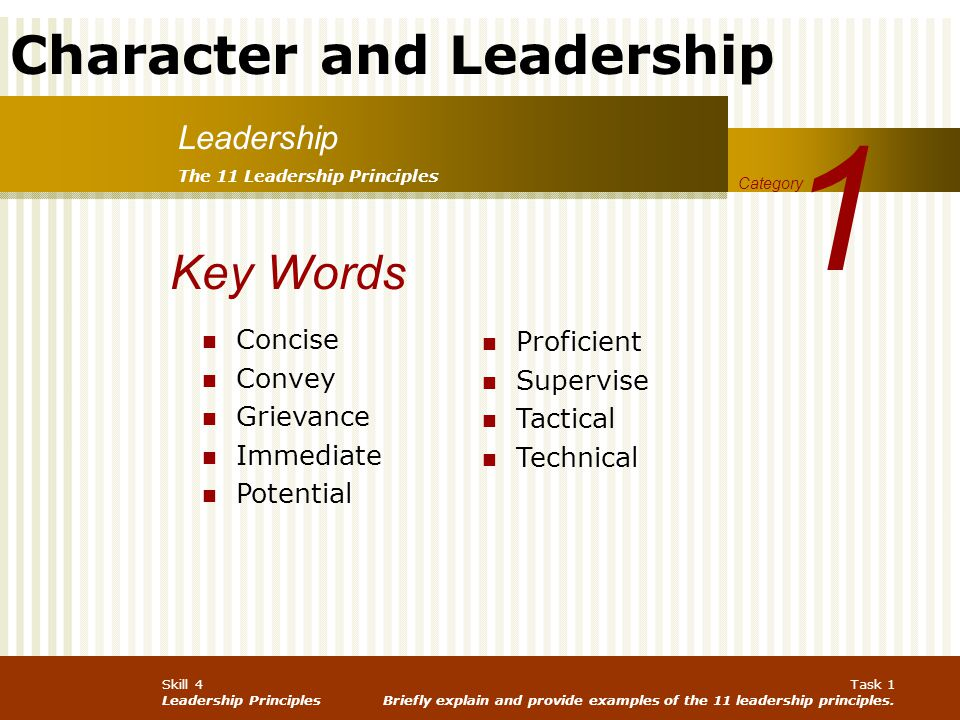 1 Key Words Leadership Concise Proficient Convey Supervise Grievance