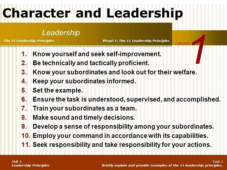 1 Leadership Know yourself and seek self‑improvement.